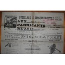 Tarif 1922 AUX FABRICANTS REUNIS Outillage Machines