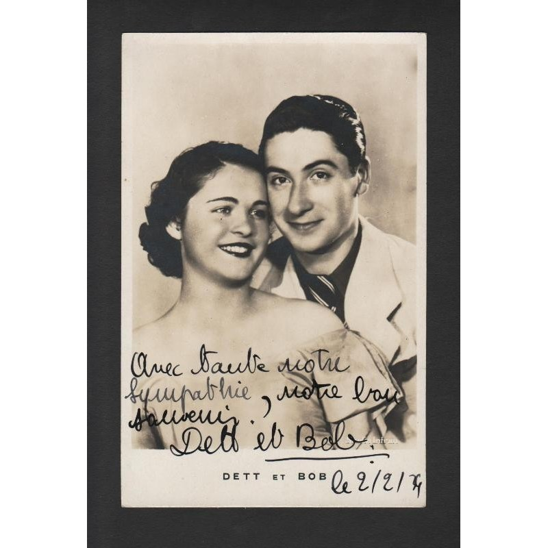 Carte photo couple DETT et BOB dédicacée 02/02/1934